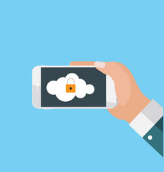 Mobile apps concept mobile security in modern flat vector