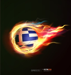 Greece flag with flying soccer ball on fire vector