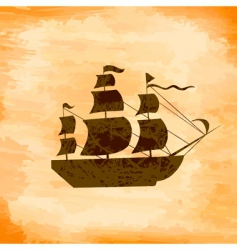 Boat on the background grunge vector