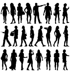 Black silhouettes of beautiful mans and womans on vector