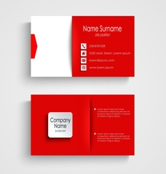 Business card with red white background template vector