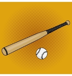 Baseball bat and ball pop art style vector