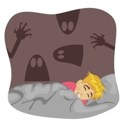 Boy having a scary dream vector