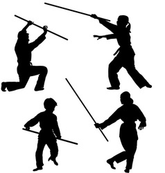 Aikido kids silhouettes vector