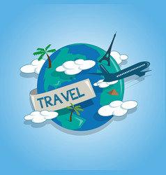 airplane travelling around the globe travel vector image