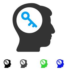 Brain key flat icon vector