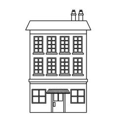 Building market exterior windows chimney outline vector