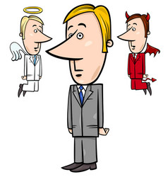 Businessman with angel and devil vector