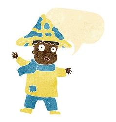Cartoon magical mushroom man with speech bubble vector