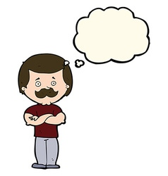 Cartoon manly mustache man with thought bubble vector