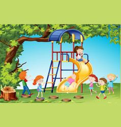 children playing slide in playground vector image vector image