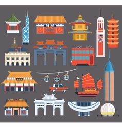 Chinese Symbolic Landmarks Collection vector image vector image