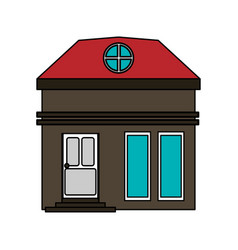 Colorful image cartoon facade small house with vector