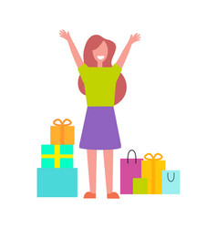 Excited buyer with many bags vector