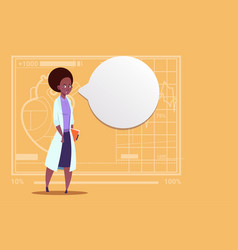 Female african american doctor with chat bubble vector