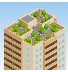Green roofs roof garden eco roof Flat 3d vector image