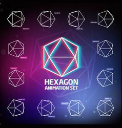 Hexagon animation set vector