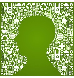 Human head eco background vector image