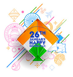 Indian background with tricolor kites for 26t vector