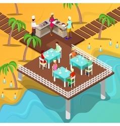 Isometric Beach Restaurant Beach BBQ vector image vector image