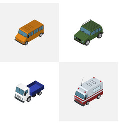 Isometric transport set of autobus first-aid vector
