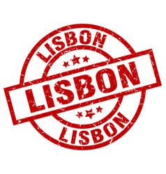 Lisbon red round grunge stamp vector