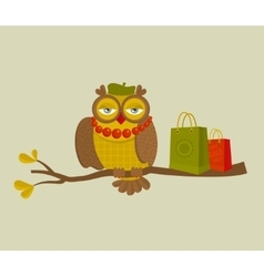 Portrait of fashionable owl on great autumn sale vector image