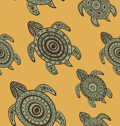 Seamless turtles background vector image