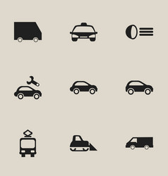 Set of 9 editable transportation icons includes vector