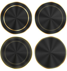 set of colorful glossy black with gold and centric vector image