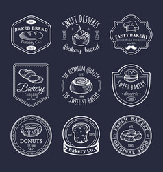 set of vintage bakery logos retro emblems vector image vector image