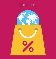 Shopping concept of bag with globe in flat vector image