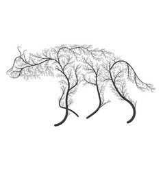 Silhouette of a hyena stylized by bushes on a vector