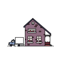 Small two-storey suburban house with porch built vector
