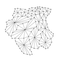 Suriname map of polygonal mosaic lines network vector