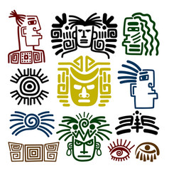Tribal face drawings set vector