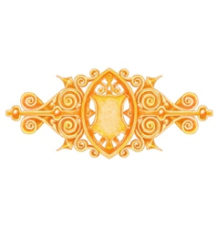 Ornated gold vintage decor with heraldic shield vector
