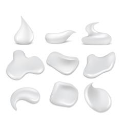 White fresh cream strokes mousse foam froth vector