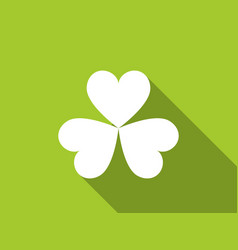 Clover with a long shadow on green background vector