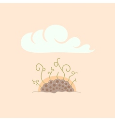 Green sprouts in soil under sky sunrise vector
