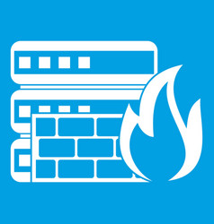 Database and firewall icon white vector
