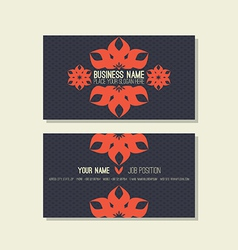 Business card template floral blue and red colors vector