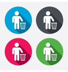 After use to throw in trash Recycle bin sign vector image