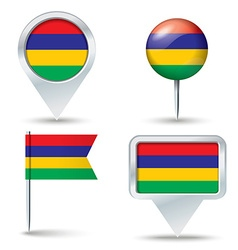 Map pins with flag of mauritius vector