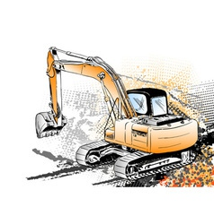 Big excavator on the background vector