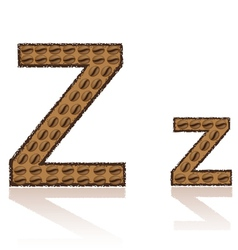 Letter z is made grains of coffee isolated on whit vector