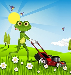 Frog mows the lawn vector
