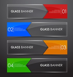 Glass banner with arrow vector