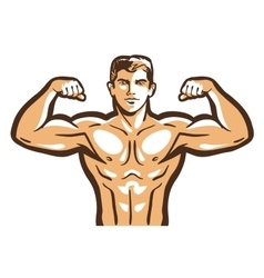 Gym logo bodybuilder bodybuilding or vector