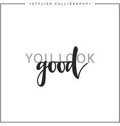 You look good phrase in handmade vector